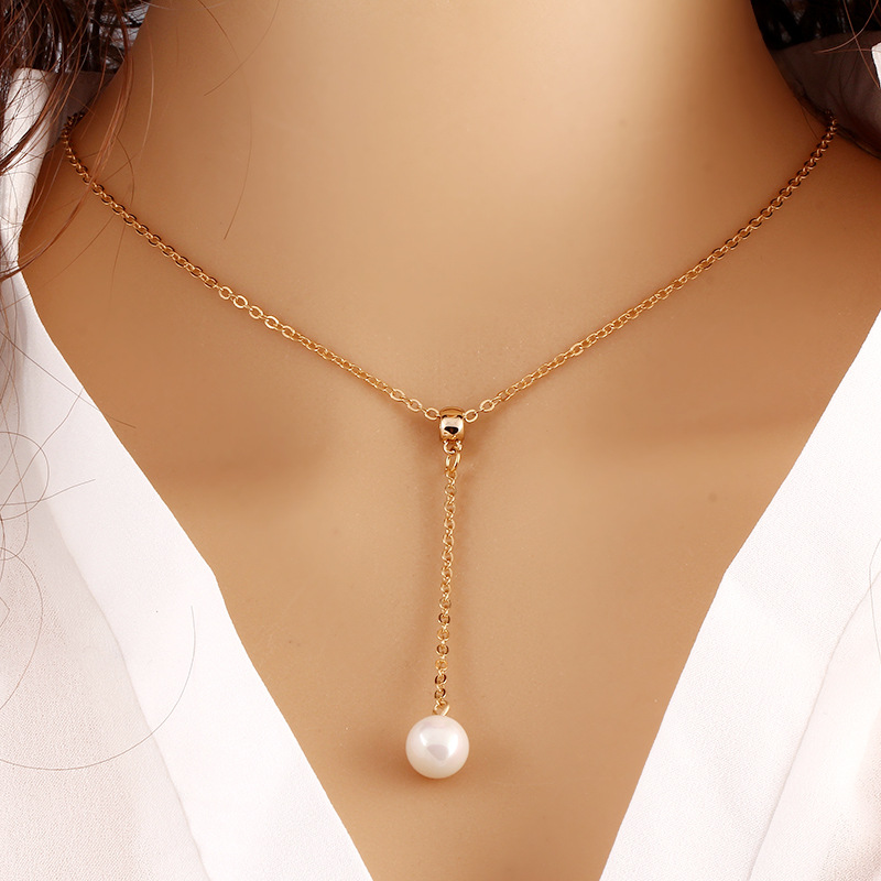 Fashion new women hot sale Amazon wholesale online shop Free shipping cheap gold chain necklace 6mm real pearl pendant <strong>jewelry</strong>
