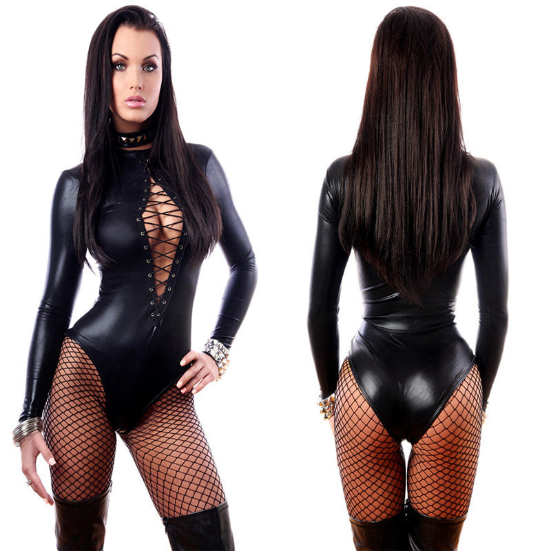f569eed123f Get Quotations · Hot Sale Sexy Black Luru Leather Jumpsuit Nightclub Wear Catsuit  Women Sexy Bodysuit Outfit New