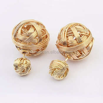 Fine fashion metal braided yarn ball shaped stud earrings jewelry