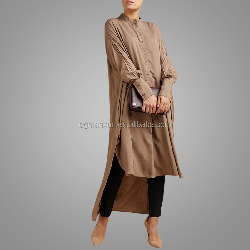 Latest Tops Design Girls Long Sleeve Simple Style Cheap Turkey Abaya Hot Sell Button Plus Size Tops