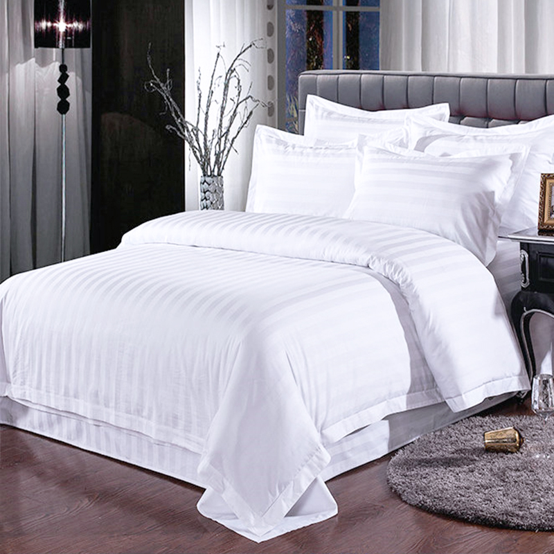 Star Hotel Bedding 100% Cotton Satin Plain White 60s Bed Sheet Bedding Sets