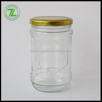 Large Capacity 18oz Cylinder Shape 550ml Gl Honey Jar With Metal Twist Off Lid