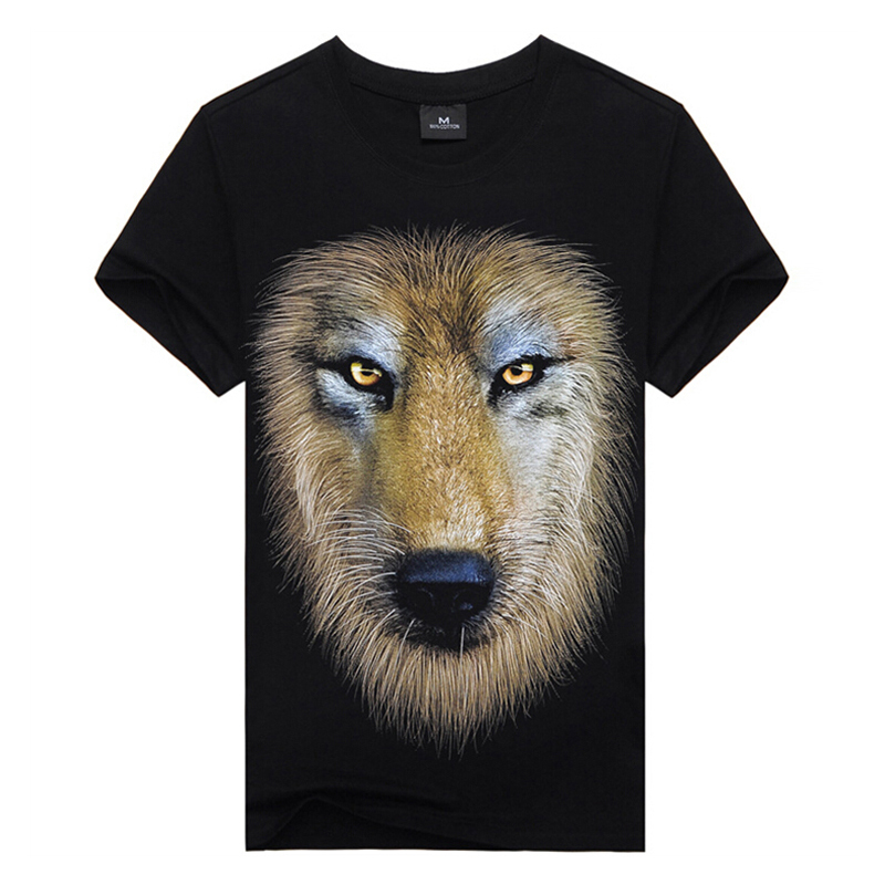 Cool summer style Top Tees 3Dprint t-shirts,MEN T-shirts Wolf's Head print,100%cotton men's tee,hip hop street wear,man appeal