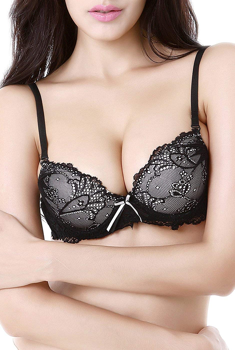 18ec91f343 Get Quotations · phistic Women s Lace Overlay Push-up Bra