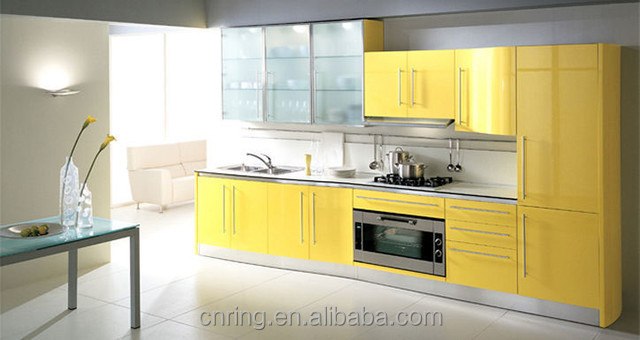 Handless China Made High Gloss Lacquer Kitchen Cabinet - Lacquer kitchen cabinets