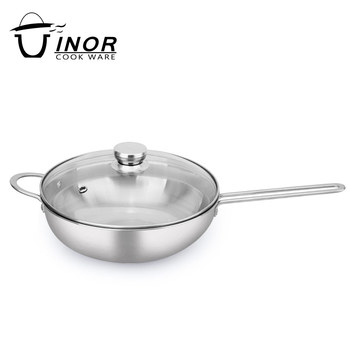 eco friendly 304 stainless steel grit satin finish frying saute pot pan for sale