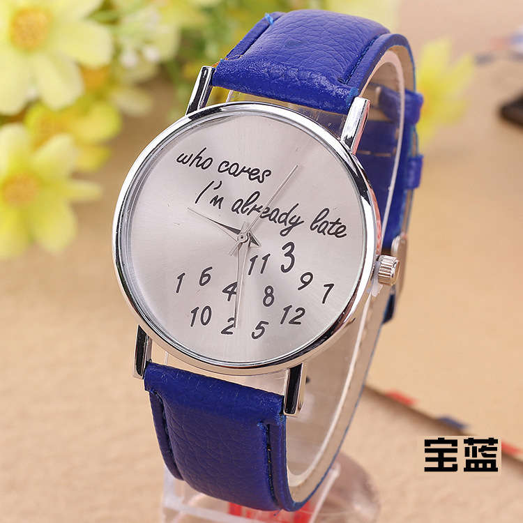 Wholesale I'm already late english letter numbers watch cheap no dial watch