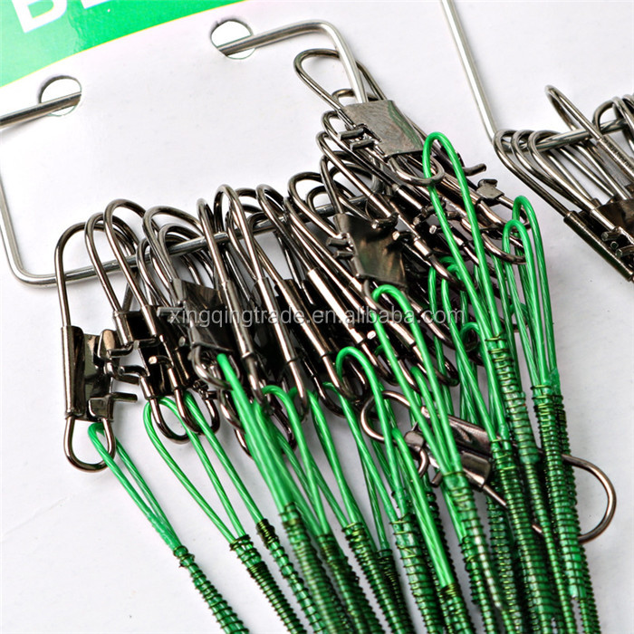 Wholesale 72pcs 15/23/30cm Anti-bite Fishing Lead Line Rope Wire Fishing Tackle Lures Line Green Fishing Lures