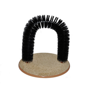 New Arrival Arch Pet Cat Self Groomer With Round Fleece Base Cat Toy Brush Toys For Pets Scratching Devices