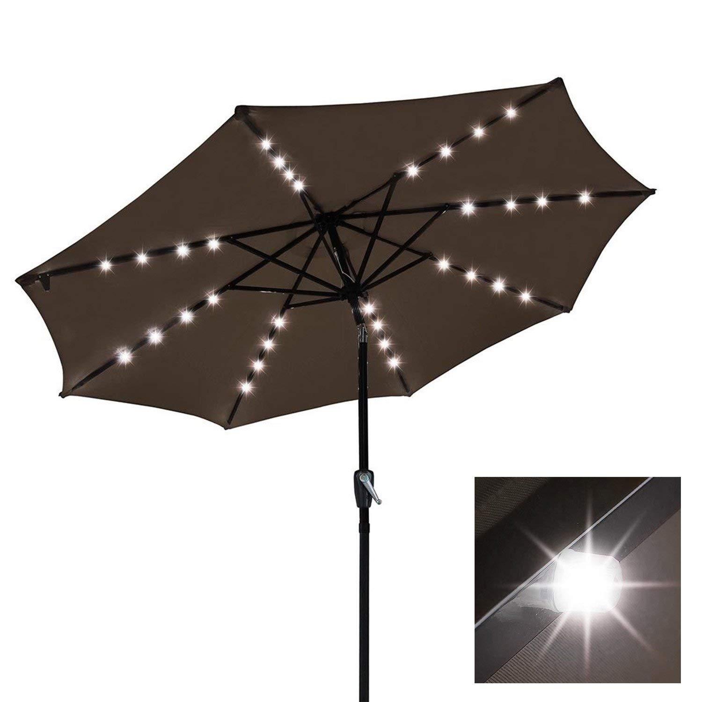 Ordinaire 9ft Solar LED Outdoor Market Tilt Patio Umbrella (Chocolate)