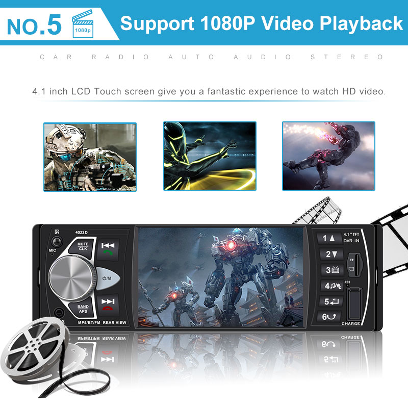Auto Audio Stereo 1 Din Car Radio  mp5 palye FM Bluetooth Rear View Camera usb aux Steering Wheel Remote Control  4022D