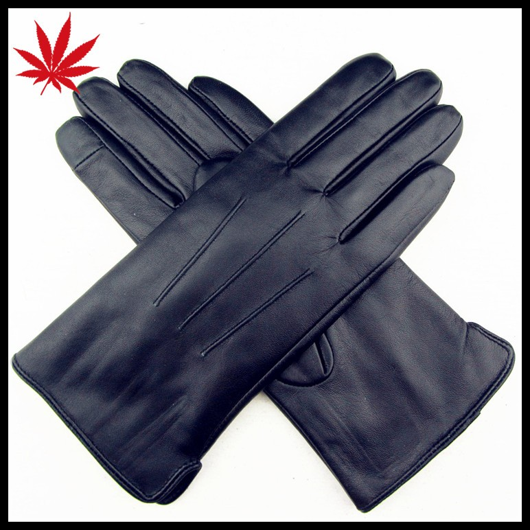 women's dark blue sheepskin the finger touch screen leather gloves