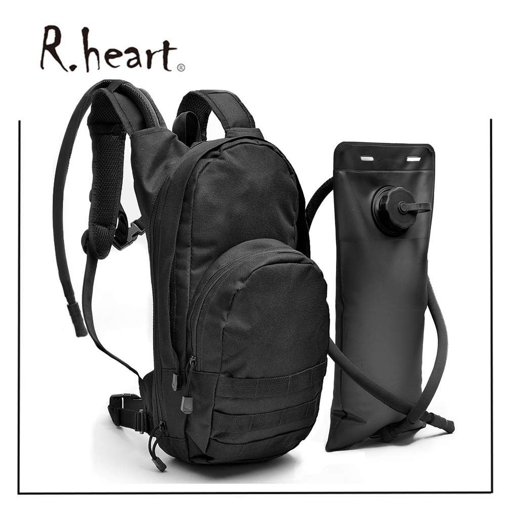 Black Tactical Running Hydration Pack Backpack with 3L Water Bladder Fits Men, Women, Kids - Military Style Daypack Backpack