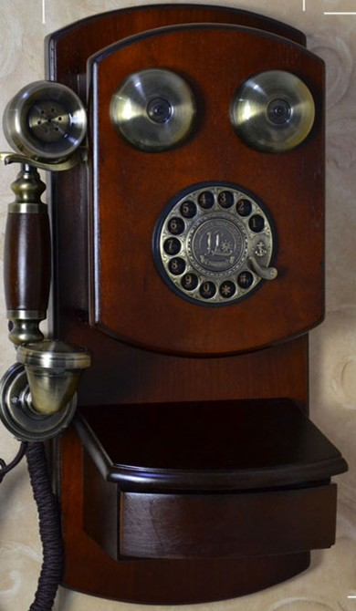 Antique Wooden Phone Home Decorative Wall Mounted