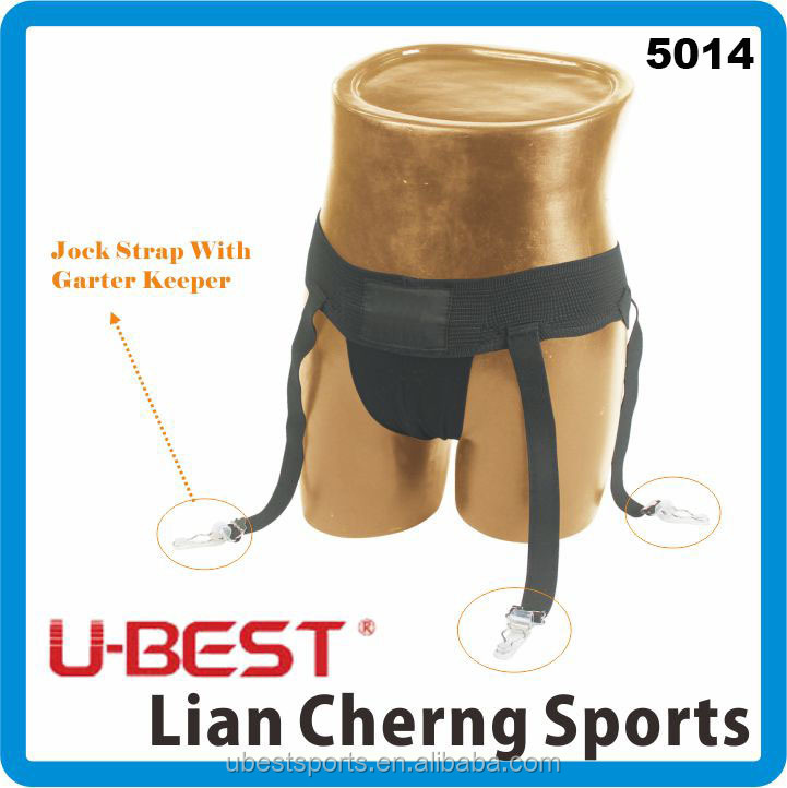 Jock strap with garter keeper, suppoerter with groin cup