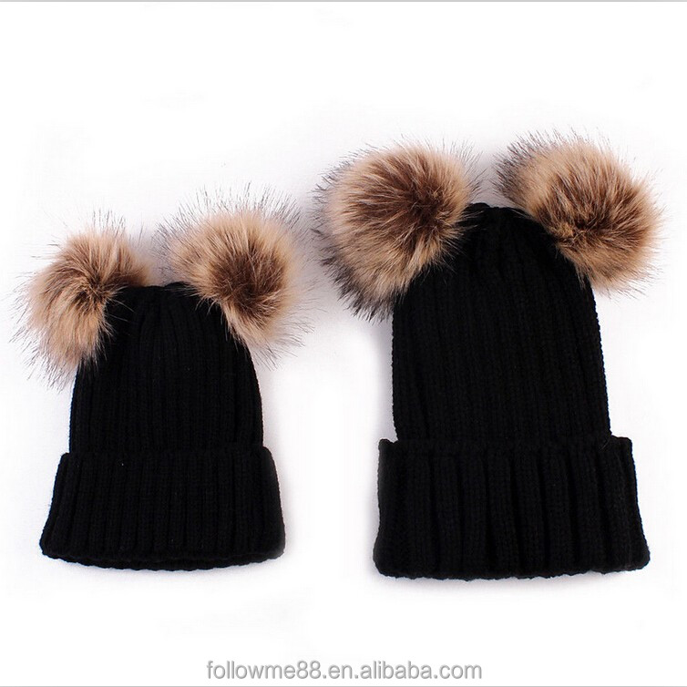 fdc60a514a2d9 Custom Russian Style mom and baby matching knitted hats Faux fur pompon Beanie  Hats winter bobble hat