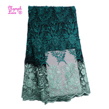 2018 guangzhou 100% polyester wedding net dubai tulle swiss embroidery french beaded dress 3d lace fabric african lace fabrics