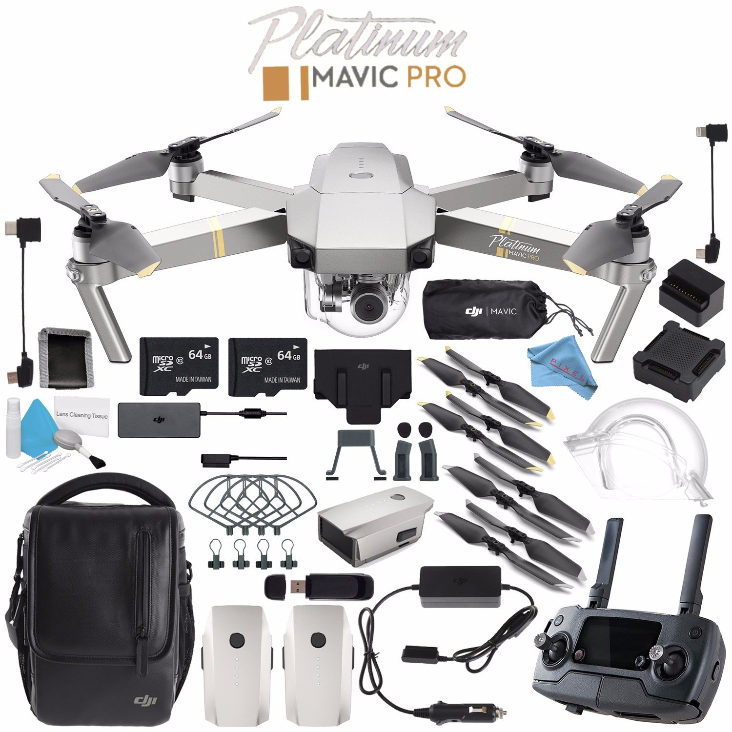 DJI Mavic Pro Platinum CP.PT.00000071.01 + Aircraft Sleeve for Mavic Pro Quadcopter + Mavic Intelligent Flight Battery (Platinum) + Monitor Hood for Rmote Controller + 64GB microSDXC Bundle