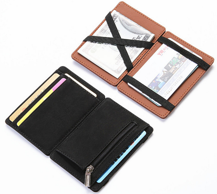 2019 factory in stock pu leather card magic wallet with zip