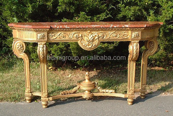 Exquisite Handmade Golden Console Table In Antique Italian Style With  Natural Red Marble Top