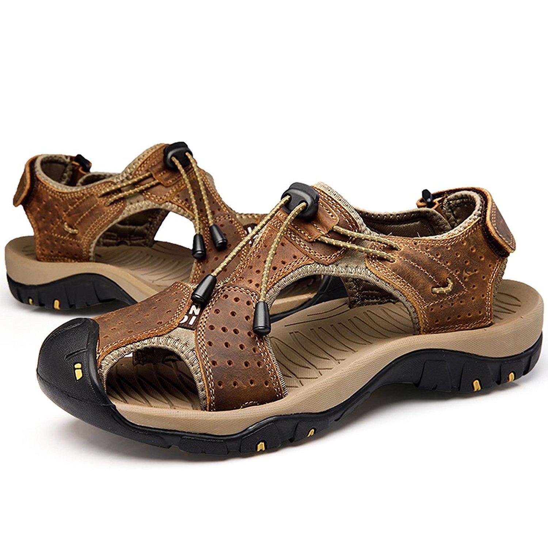 68b1b487bd12 Get Quotations · Qiucdzi Mens Sports Sandals Summer Leather Outdoor  Fisherman Beach Athletics Walking Hiking Sandals