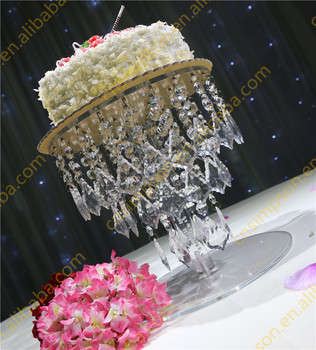 Wedding Cake Stand With Crystal Hanging Beads Silver Round