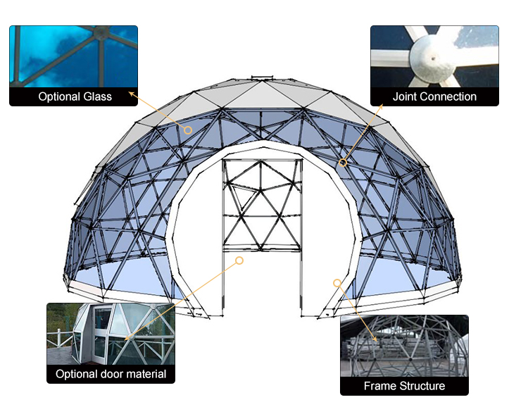 High quality customized outdoor glass  house party camping dome tent
