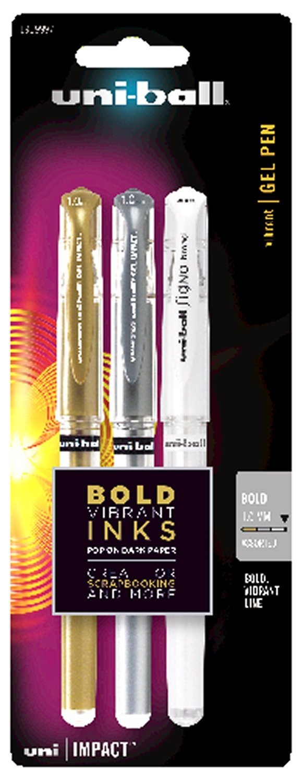 uni-ball Impact Gel Pens, Bold Point (1.0mm), Assorted Metallic, 3 Count