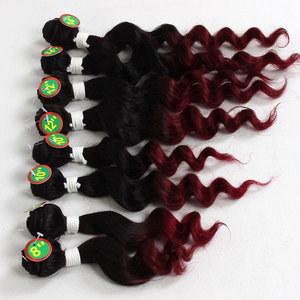 brazilian loose wave human hair bundles ombre burgundy color loose wave two tone remy human hair cheap price