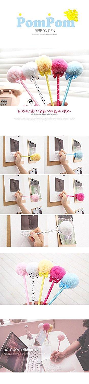 5 PC Student Prizes Creative Promotional Pens, Balls Plush Ballpoint Pen, Cute Ball-Point Pens School Supplies B-015