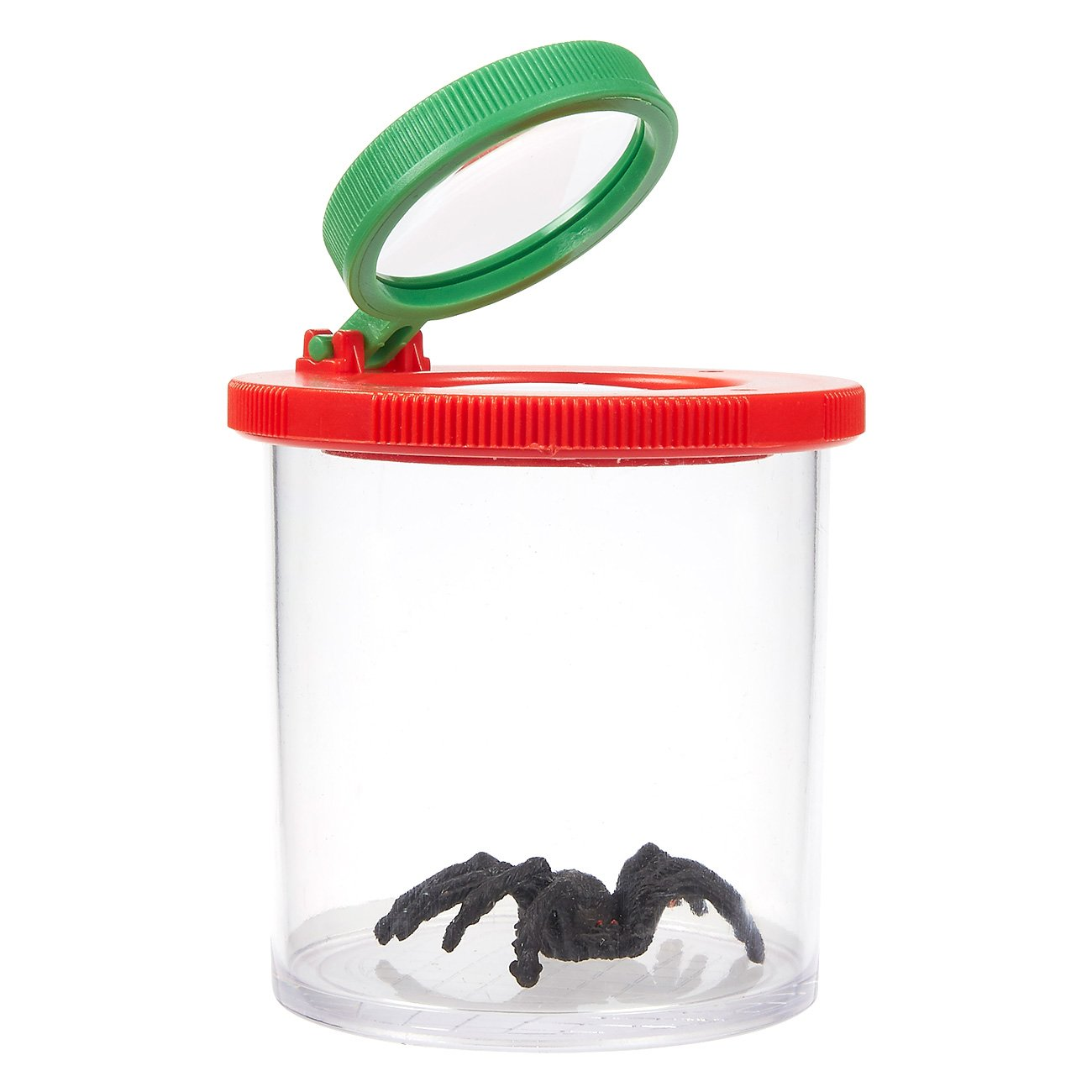 Bug Viewer Box - Bug Jar Children - Plastic Transparent Insect Catcher Kit 3X Magnifying Lens, 2.5 x 3.1 x 2.5 inches, Red Green
