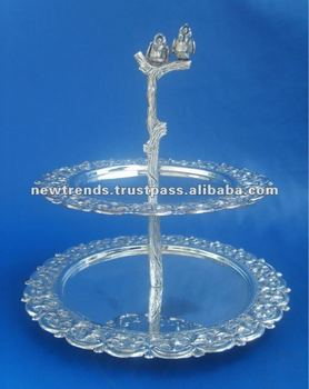 2012 hot product 2 tier cake stand silver cake rack