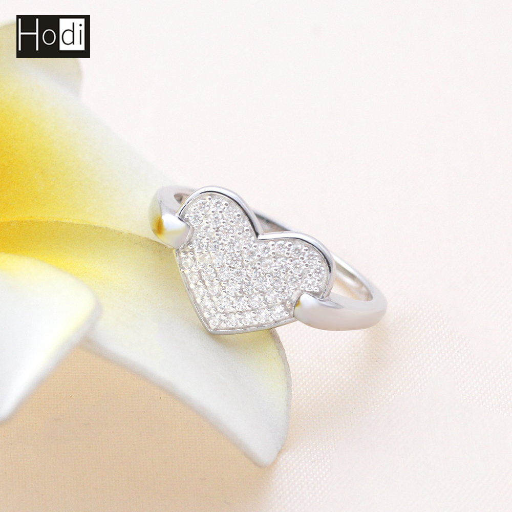 Custom Copper Women Jewelry Pave Setting CZ Silver Plated Love Heart Ladies Finger Gold Ring Design