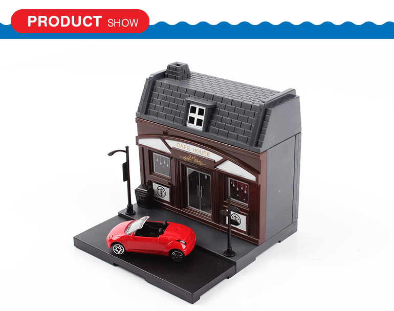 Newfashioned creative blocks toys shop plsatic single story house model toy with car