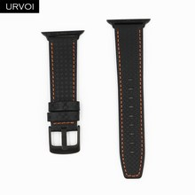 URVOI кожаный ремешок из углеродного волокна для Apple Watch series 5 4 3 2 1, ремешок для iwatch с пряжкой из нержавеющей стали, стиль CFRP(Китай)