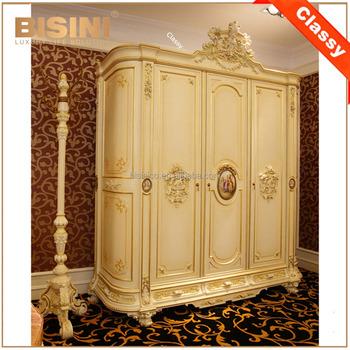Luxury French Rococo Style Three Door Wardrobe Closet/ Antique Palace Wood  Carved Bedroom Decorative Wardrobe