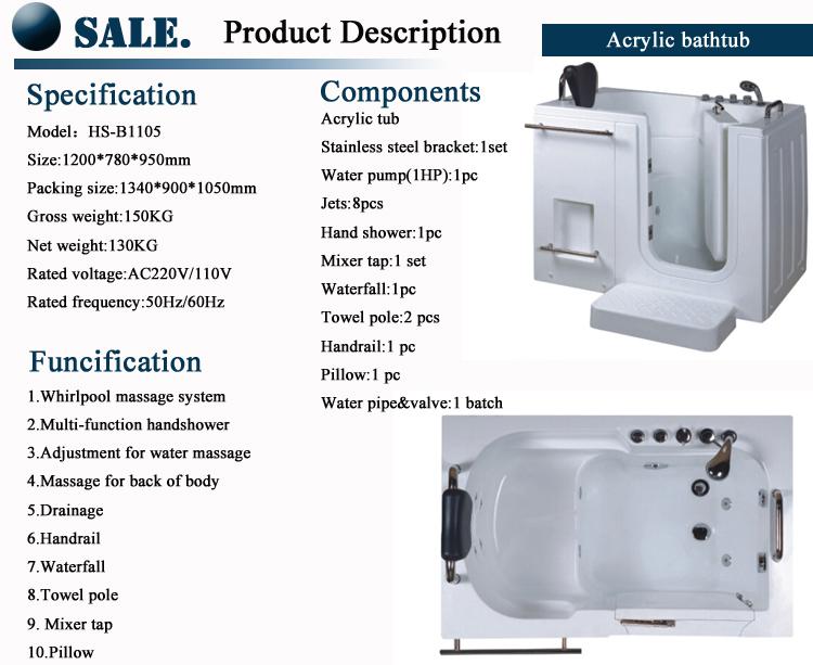 handicapped walk in disabled bath tub/ bathtub for disabled/ walk in bathtub with door