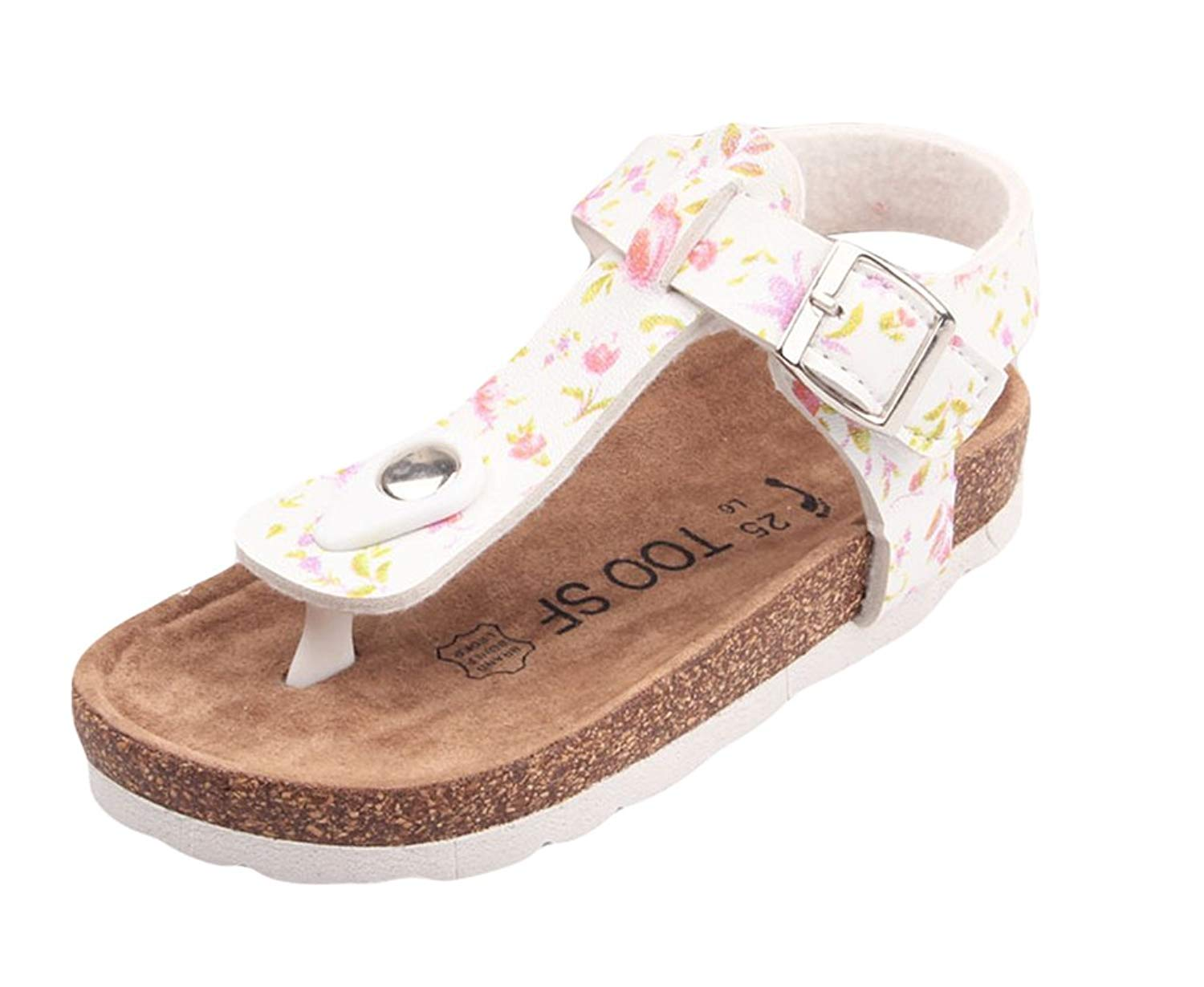 6966068254b6c Get Quotations · ONCEFIRST Girl s Casual PU Leather Thong Cork Sandals