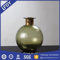 Custom made OEM handmade blown grey colored flower glass home decoration vase wholesale