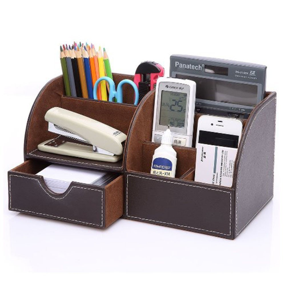 Yiuswoy Multi-Function Office/Home Desk Organizer,PU Leather Desk Caddy, 7 Storage Compartments With Drawer ,Desk Supplies Holder,Desktop Stationery Storage Box - Brown
