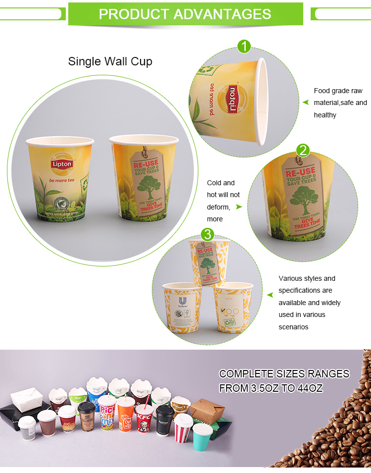 Single wall disposable custom logo printed paper cups for coffee