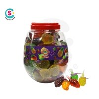 wholesale mixed fruit shape color jelly candy in bottle