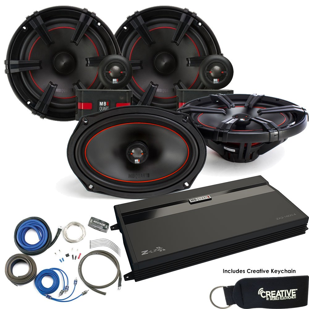 """MB Quart ZA2-1600.4 Amp, a pair of XC1-216 6.5"""" Component speakers, a pair of XK1-169 6x9 Speakers & Wire Kit"""