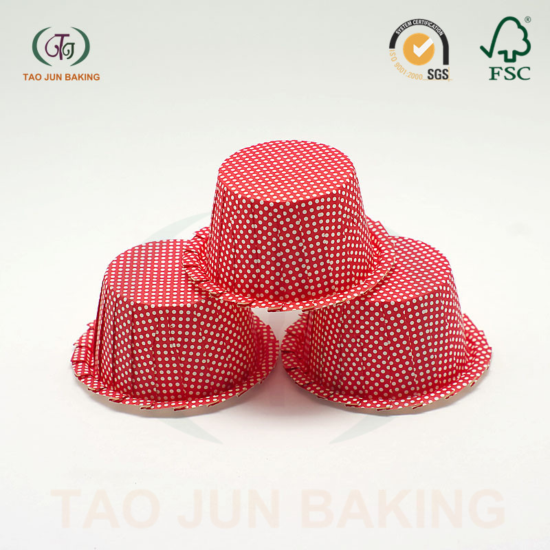 food grade coated paper baking cupcake liners cups sawtooth edge polka dots printed
