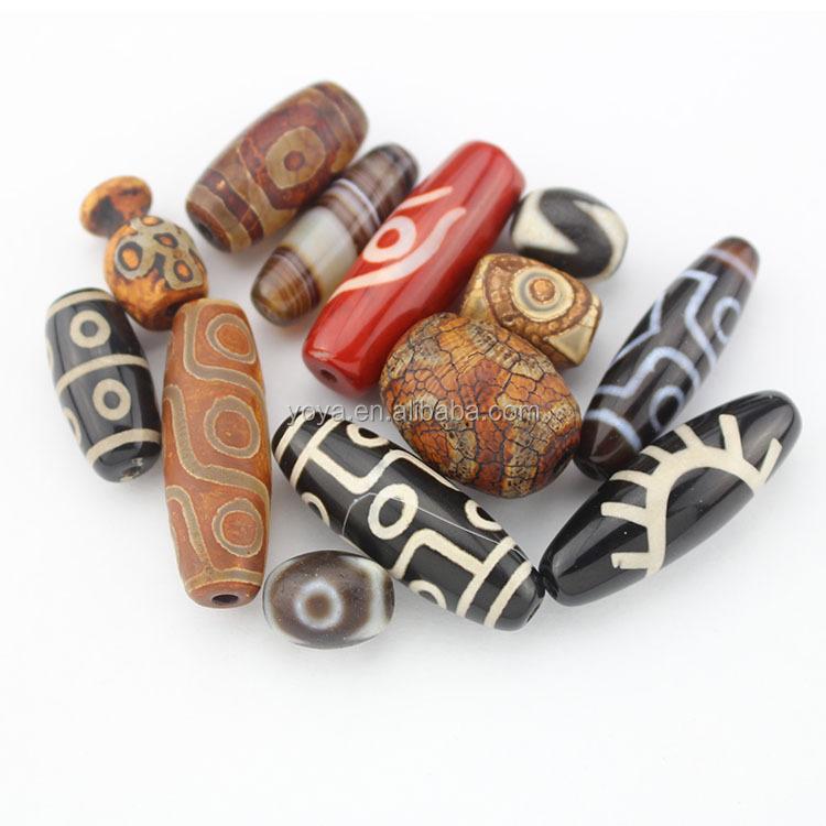 4 30mm Tibetan Agate Dzi Style Heaven Eye Barrel Pendant Focal Beads