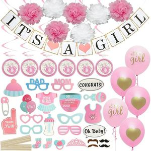 Baby Shower Decorations for GirlIncludes matching Its A GirlBanner & Balloons, Cute Photo Booth Props