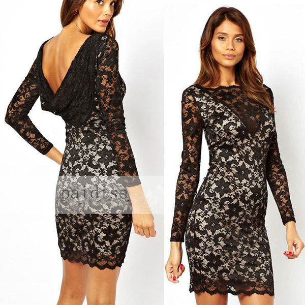 2017 Black Sexy Long Sleeve Short Designs Cocktail Lace Dress Women