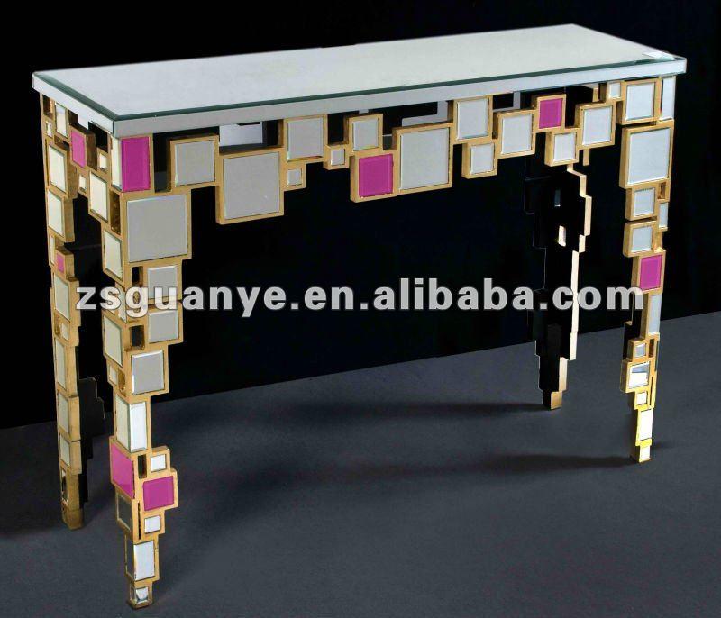 Dise o fucsia y plata reflejado larga mesa de la consola espejo mesas reflejado furnture - Espejo de mesa ...