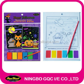 FUNWOOD Halloween theme Water coloring paint drawing book with brush