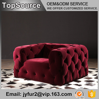 Divan Living Room Furniture Red Tufted Fabric Low Arm One Person Sofa